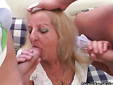 Awesomely hot grandma has two
