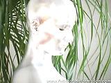 Silver dame posing erotically