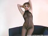 Blonde whore strips nylon