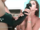 Big strap on dildo fucking