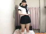 Asian schoolgirl masturbating