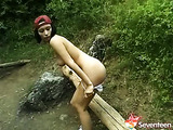 Schoolgirl masturbating in the forest