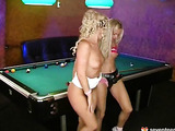 Lesbian teens on the pool table