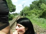 Fucking on the railway track