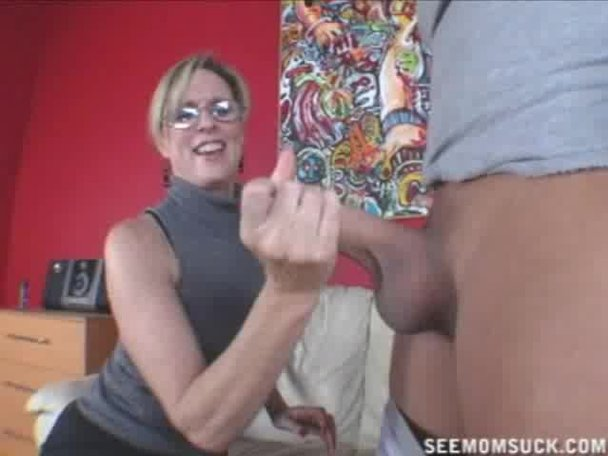 Saggy milf gagging on cock