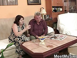 Girlfriend sucks his mom's tits