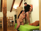 Chubby cock riding mature babe