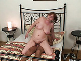 Chubby granny enjoys his youthful cock