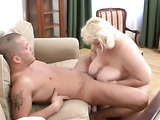 Fat blonde rides cock
