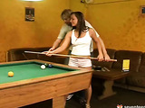 Teen gives head and fucks on the pool table