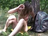 Teen masturbating in the forest