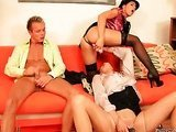 Threesome fucking in clothes sex party