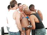 Blonde sucking interracial cocks in porn movie