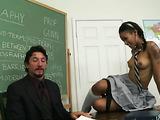 Teacher seduces his swarthy teen student