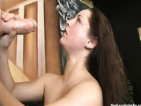 For a cum-licious facial, a kinky slut playfully flirts and throbs his hard dick for a sexplosion action