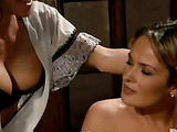 Two slutty lesbian masochists binds a gorgeous slut as they clip her tits, slap her ass and dildo fuck all her holes for