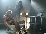 Slutty blonde in bondage by a lesbian masochist who gives her such sexual pleasures as she whips,