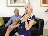 Sexy uniform blonde means business as she handles cock with mouth and wet pussy