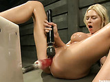 Tattooed big-titted blonde cumming of a fucking machine and a big wire dildo