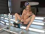 Blonde milf with big tits gets her asshole slammed with a fucking machine with four dildos