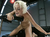 Lustful blonde slut stimulates her clit with a vibro when assfucked