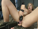 Insatiable blondie with big boobs and bushy twat uses various sybians to satisfy her lust