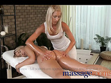 Two hot blonde lesbians massaging and fingering each other passionately.