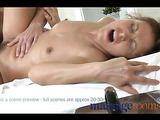 Saucy brunette loves how he shoves his big cock in to her tight cunt furiously.