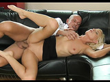 Elegant looking blonde milf loves how he fucks her furiously on the couch.