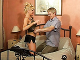 Dirty blonde mom in high heels wants some hard fucking with a blonde dude