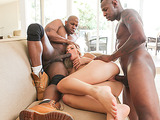 Bootylicious blondie gets both ends plugged with big black schlongs