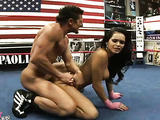 Latina babe takes out stud in submission in a sparing session.