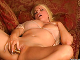Big breasted blonde shows her need for a good time.