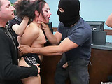 Brunette bank manager gets group banged during the bank robbery