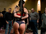 Brunette babe in a ponytail with hairy snatch gets ass and cunt fisted and banged dirtily in public