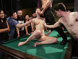 Short-haired busty bitch getting disgraced in public on the pool table