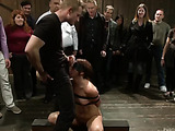 Small-titted brunette babe in a ponytail enjoys being blindfolded and roped and group fucked hard