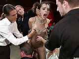 Small-titted brunette teen in pins bound and suspended gets punished badly in public