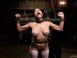 Big-titted latina babe in white nylons gets stretched and bound for bad tortured with hot wax and hard fucking