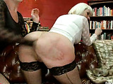 Blonde and ginger babes in fishnet stockings pleasing each other's poopers with deep fisting and dildoing
