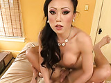 Very hot Asian tranny enjoys riding a stiff prick