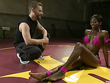 Fit ebony T-girl in sexy rose bikini fucking her trainer after hard assfisting