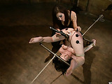 Gagged brunette teen roped and spanked before hard tortures with wire sex toys