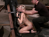 Busty ponytialed blondie in ropes and shinju getting trained physically and with various bdsm implemets