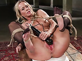 Busty blonde mom in stockings and suspender adores hard rough anal fucking and humiliation