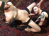 Blonde guy a beard agrees to be bound and blindfolded to get his dick teased by two dudes