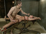 Nerd in glasses can read brunette babe's dirty thoughts about hard banging in bondage