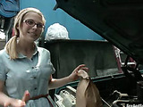 Ponytailed blonde teen in glasses gets gagged and bound by her step father and pounded roughly in the garage