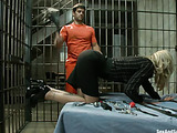 Blonde MILF with big boobies in nylons gets submitted and banged hard by a horny prisoner