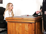 Slutty blonde lady boss sucking her unpleasant client's cock in her office